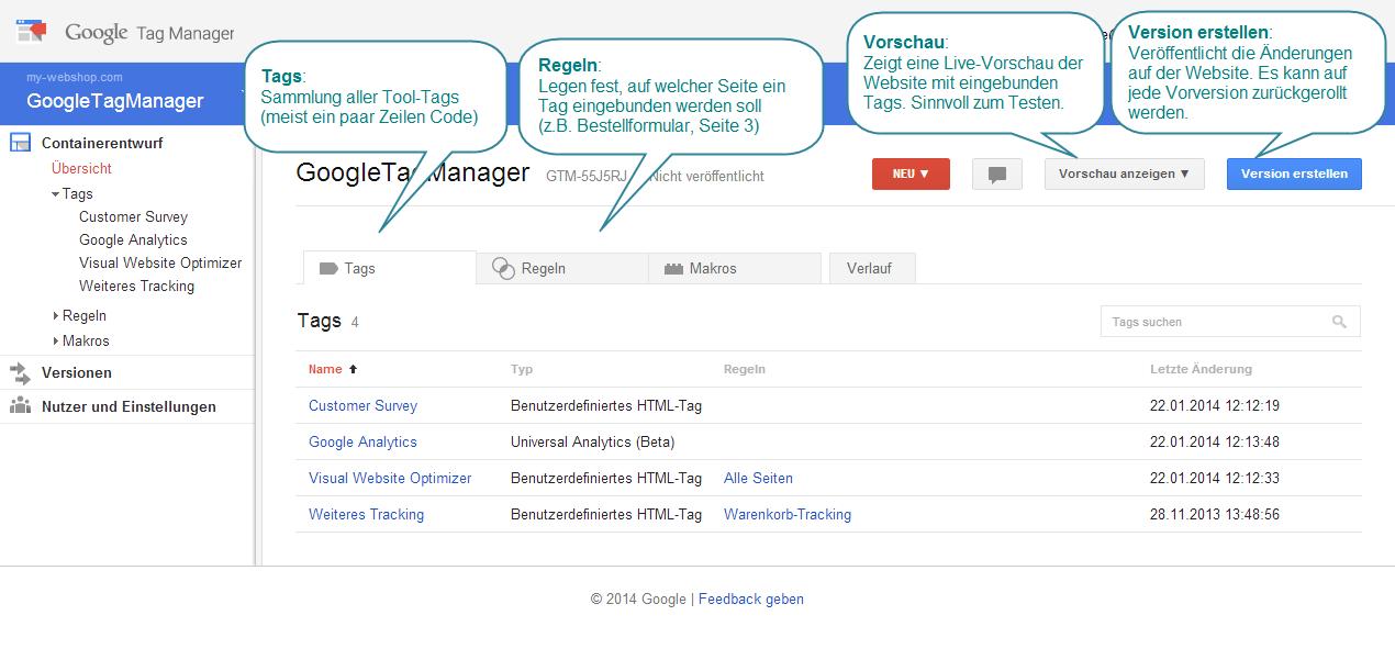 Google Tag Manager: Tags verwalten mit Vorschaumodus und Versionsverwaltung