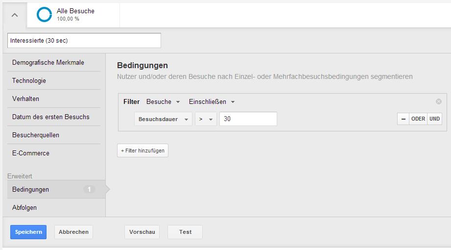 Einrichtung des Segments 'Interessierte Nutzer' bei Google Analytics