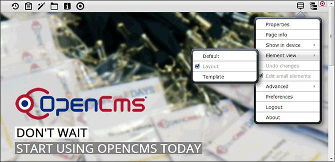 Darstellung der Element-Views im OpenCms-Menü