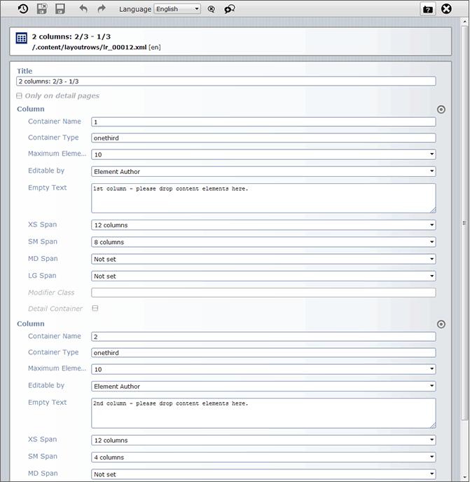 Darstellung einer im OpenCms Editor geöffneten Layout Row