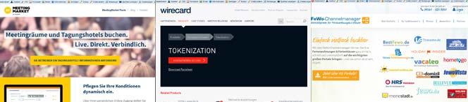 Screenshots der Anwendungen von Expedia Wirecard und FeWo Channelmanger