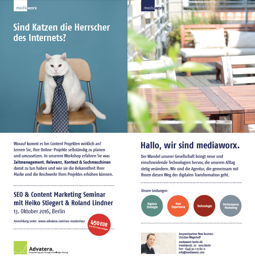 Flyer zum SEO & Content-Marketing Seminar
