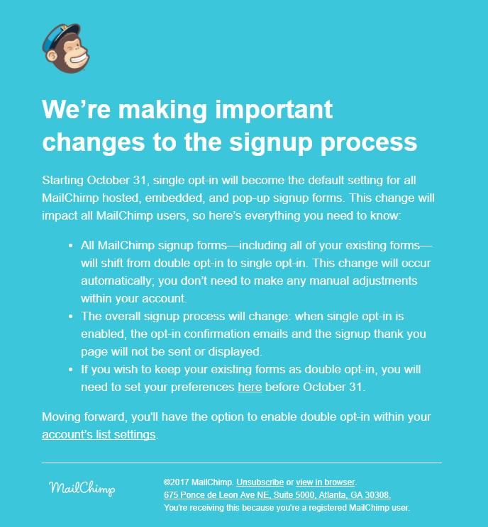 MailChimp Meldung zur Umstellung auf Single-Opt-In