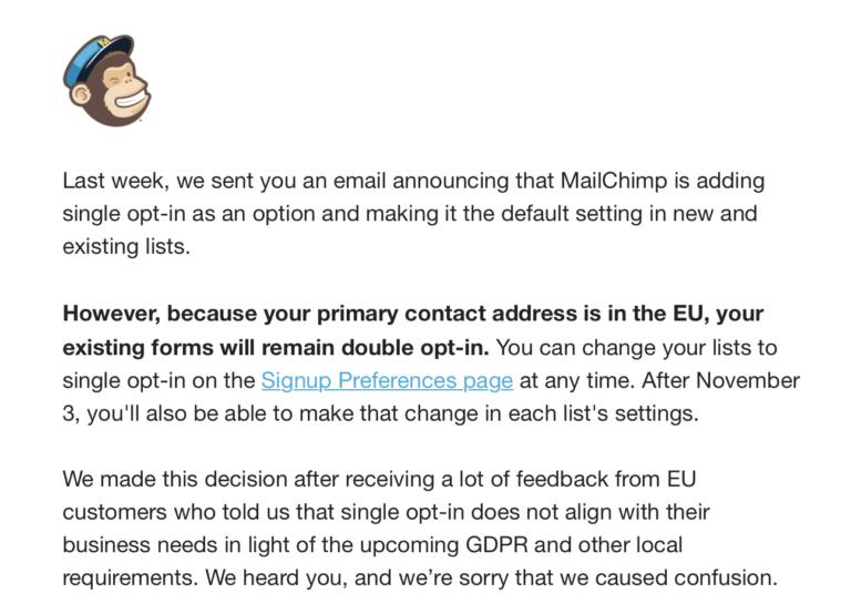 Meldung: MailChimp stellt doch nicht auf Single-opt-in um.