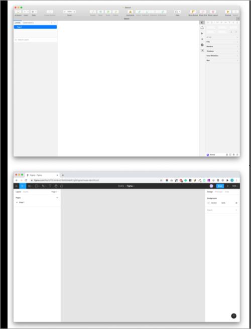 Anwendungsoberflächen Sketch und Figma
